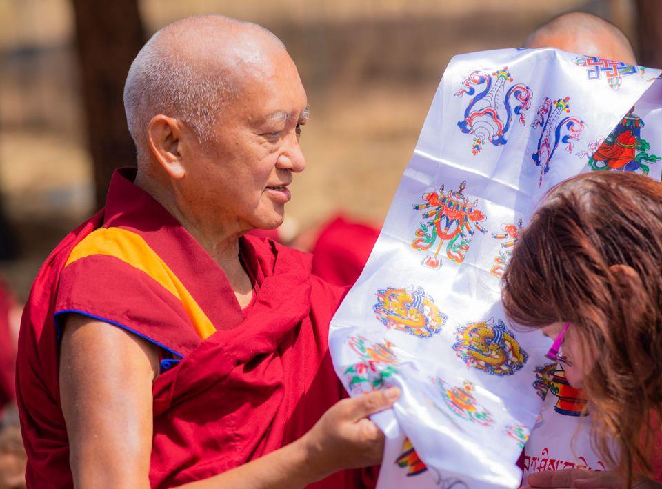 Lama Zopa Rinpoche with khata