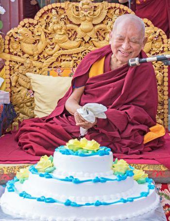 Lama-Zopa-Rinpoche-birthday-cake-Kopan-2019