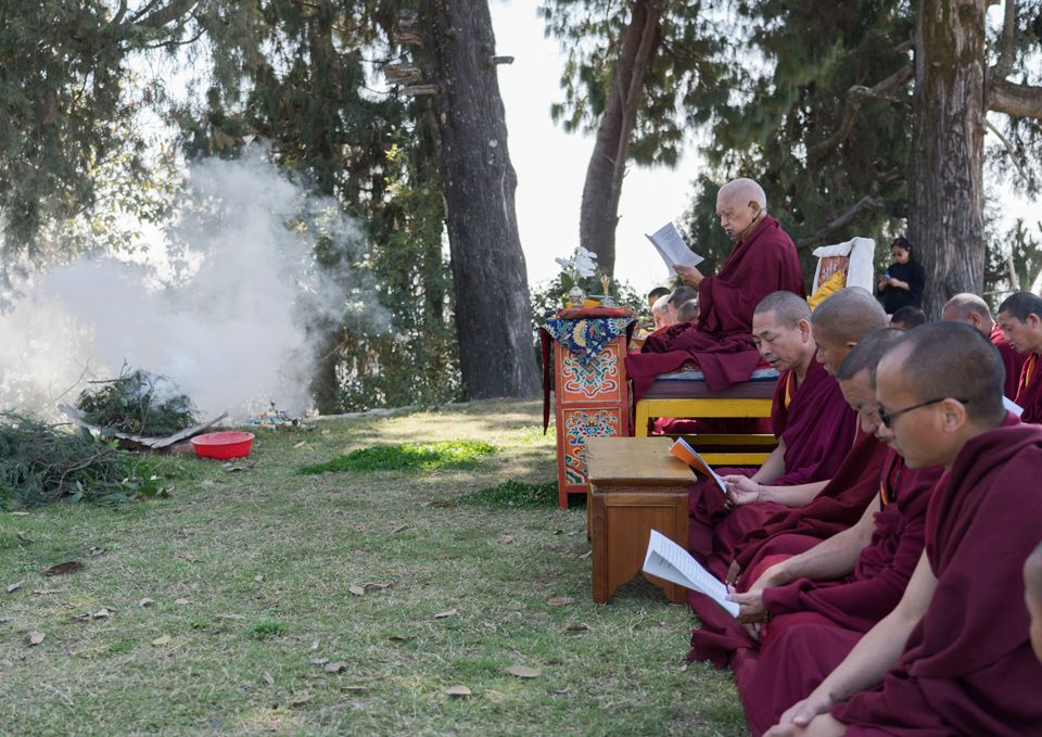 Lama Zopa Rinpoche Offers Padmasambhava Incense Puja at Kopan Monastery