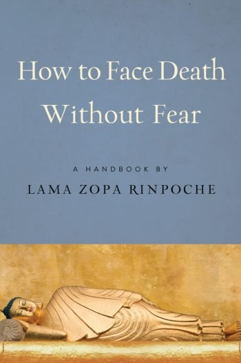 The book's cover has an image of the Buddha laying on his side in the lion's pose.