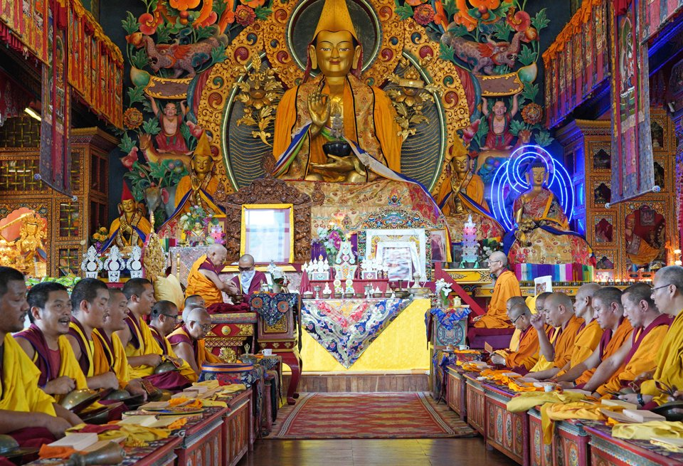Rinpoche and monks doing puja in Kopan gompa