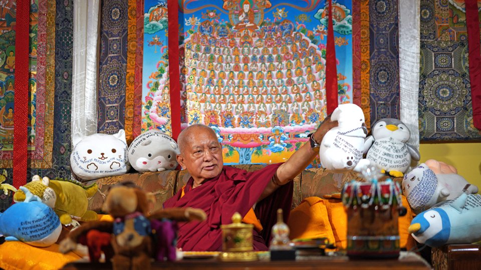 lama zopa rinpoche during online teaching