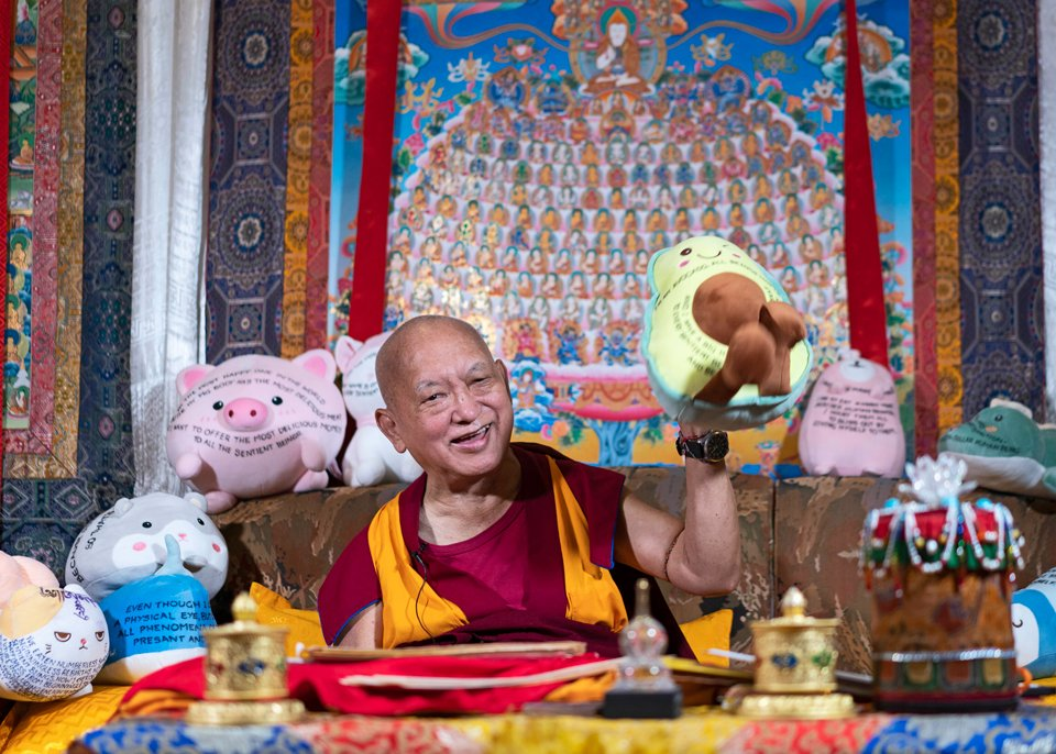 Lama Zopa Rinpoche sitting on a couch holding up a stuffed plush avocado toy