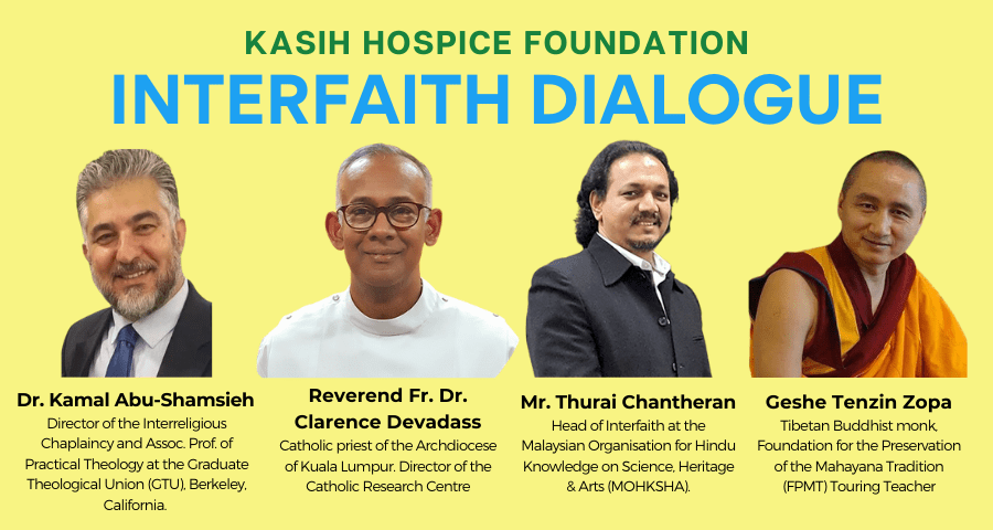 Poster advertising the kasih hospice interfaith dialogue with head shots of each of the speakers and a short bio beneath.