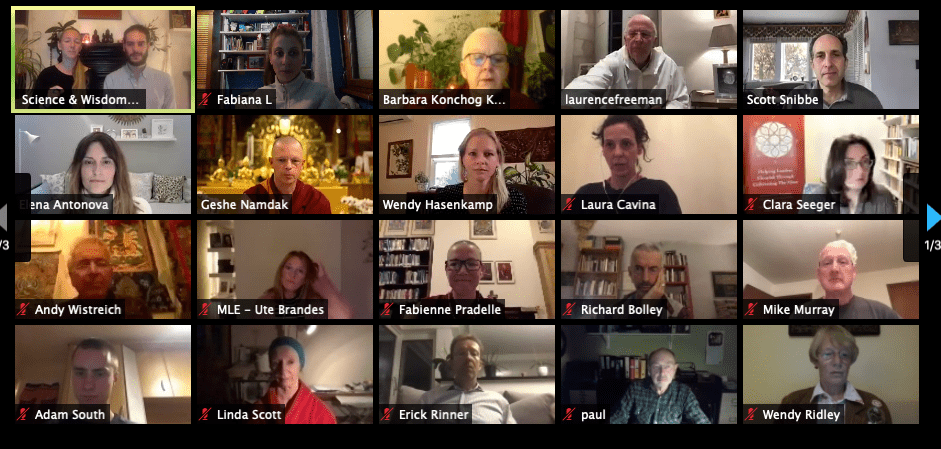 A screenshot of nineteen people participating in the dialogue on Zoom.