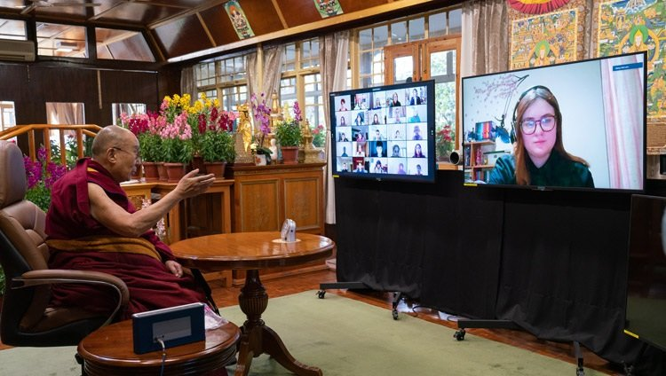 HH Dalai Lama talking to a student via Zoom