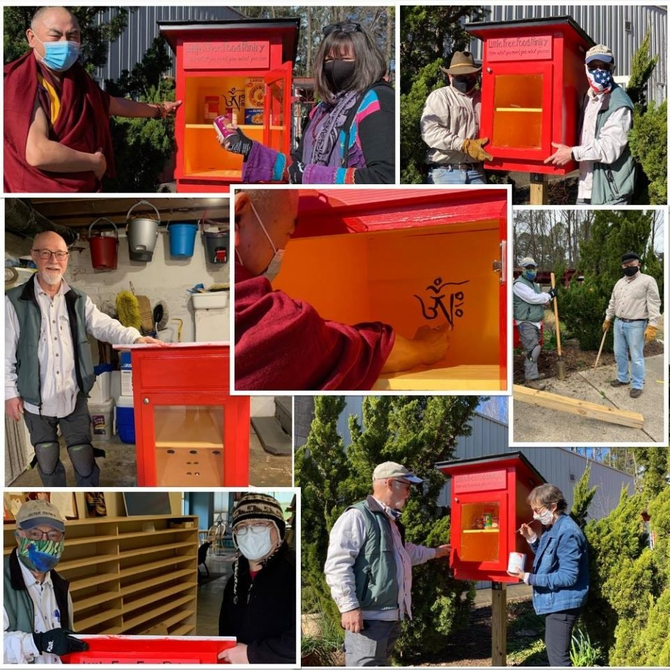 Collage of 7 photos showing people doing woodwork and installing the bright red little free pantry outdoors.
