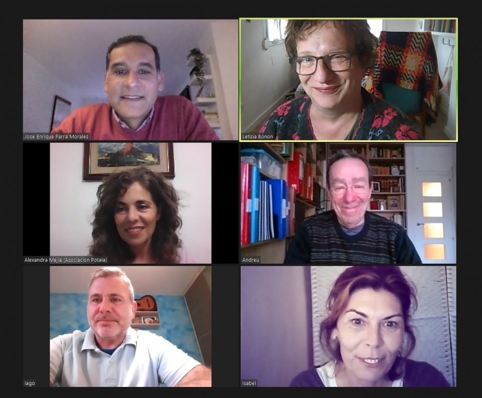 Zoom screenshot of six people meeting and smiling.
