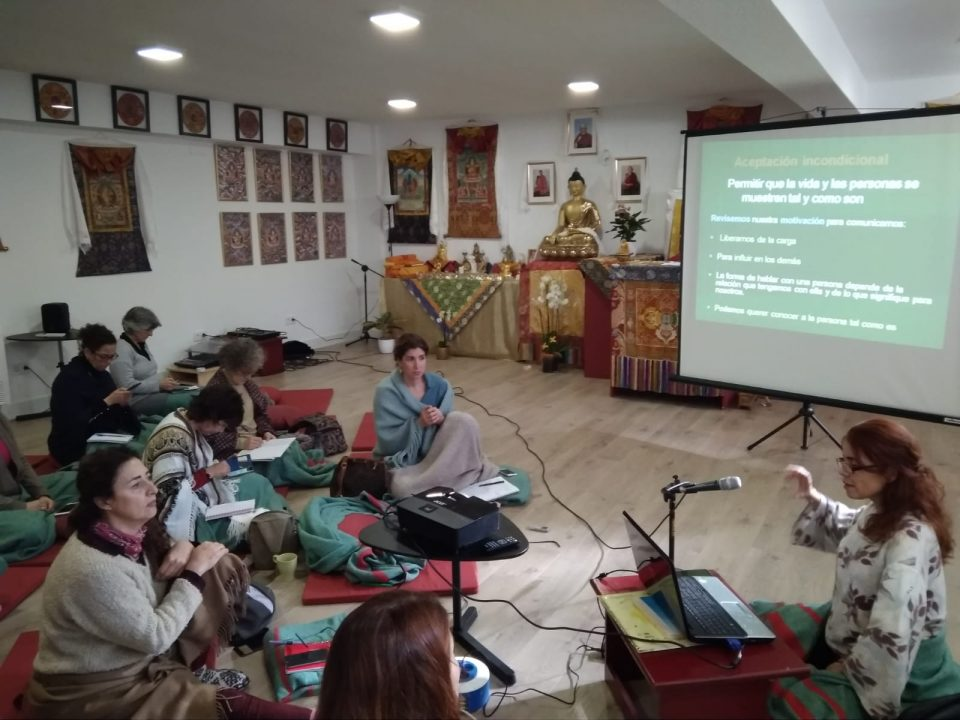 A group of students seated on meditation cushions in a Tibetan Buddhist temple listening to a presenter talk.