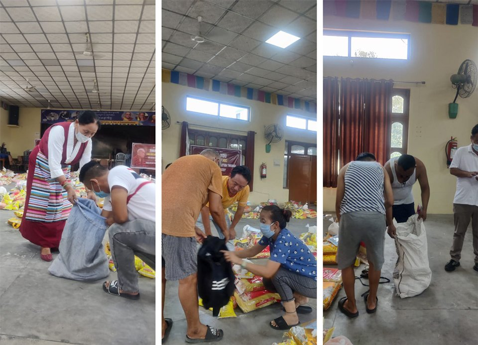 three images of food being distributed to Tibetan refugees of various ages