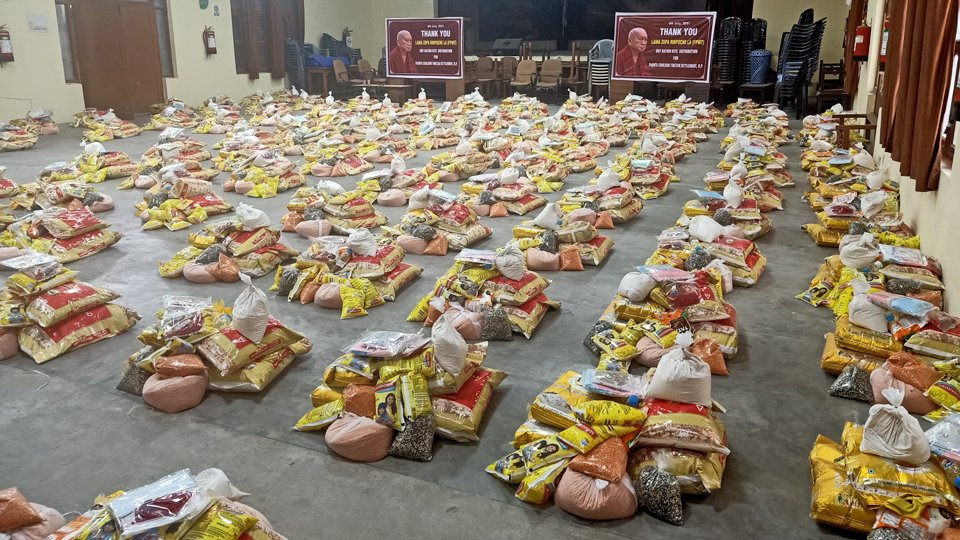 food arrange in 125 different groups ready for distribution