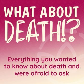 Cover image for podcast a maroon background with white lettering that says what about death followed by an exclamation point and question mark.