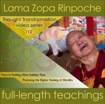 sample podcast episode image with text and Rinpoche's smiling face