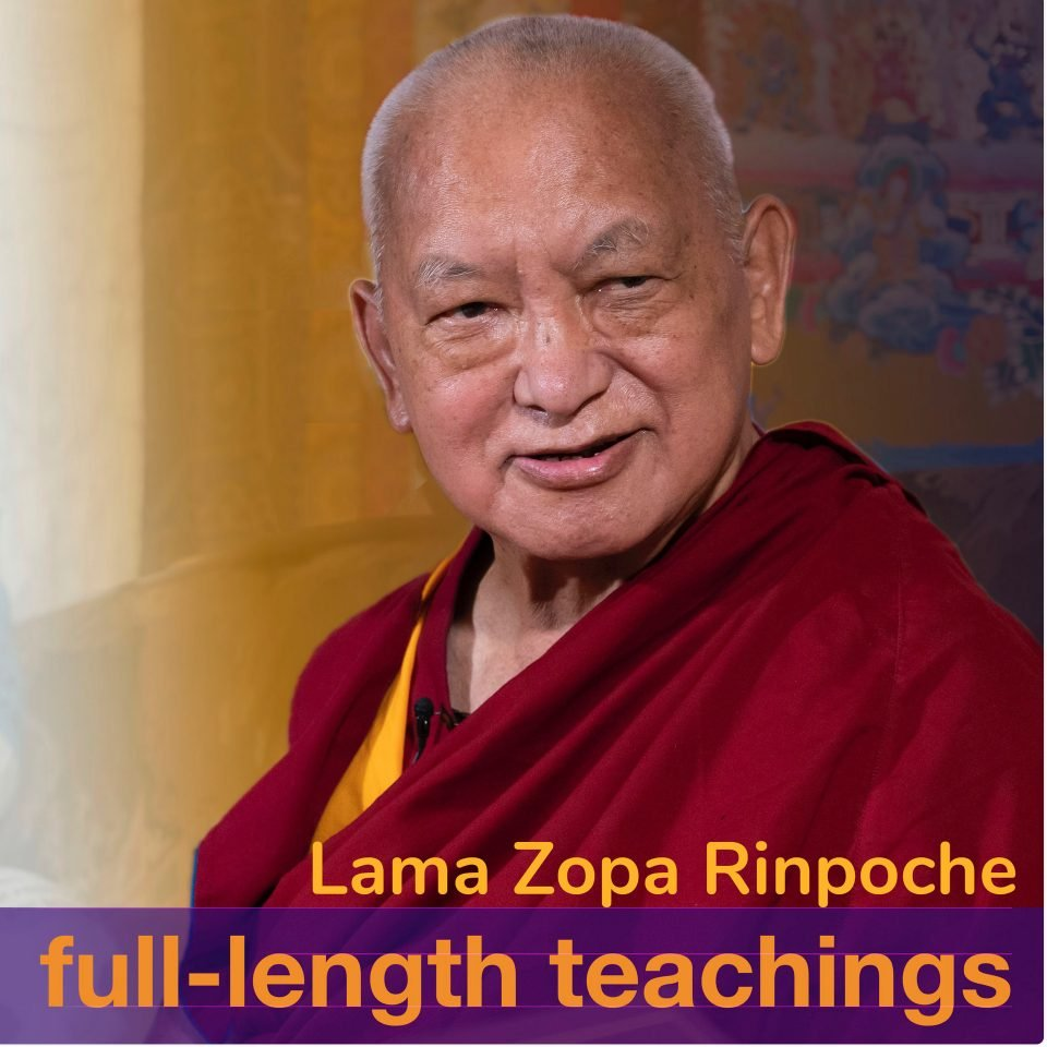 portrait photo of Lama Zopa Rinpoche with title of podcast over image