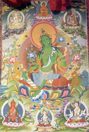 Photo of traditional Green Tara thangka