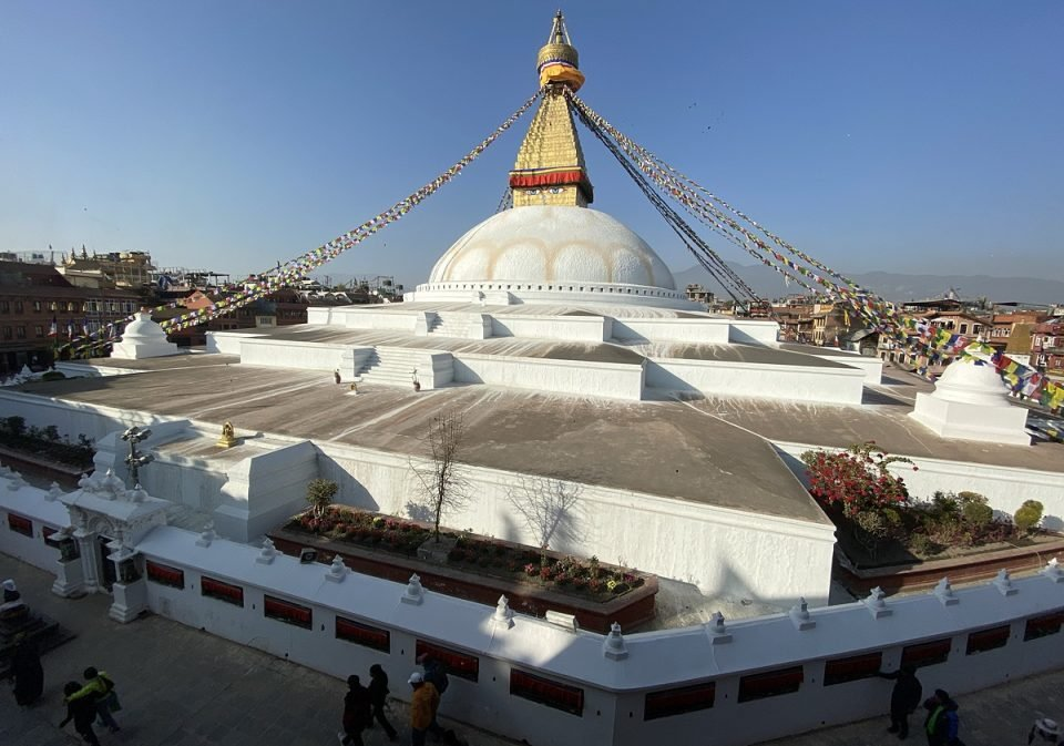 View of the entire Boudha Stupa from the top of one of the buildings surrounding the stupa