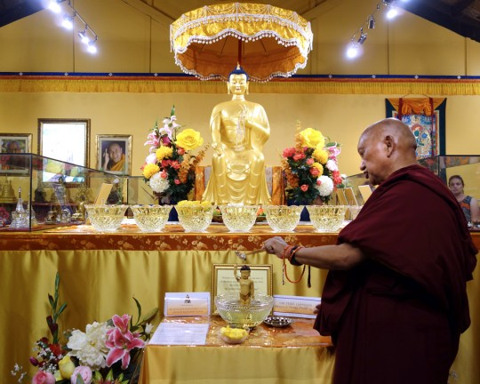 Lama Zopa Rinpoche visiting the relics in the exhibition center at the Great Stupa of Universal Compassion's relic collection, Bendigo, Australia, October 2014. Photo by Ven. Roger Kunsang.