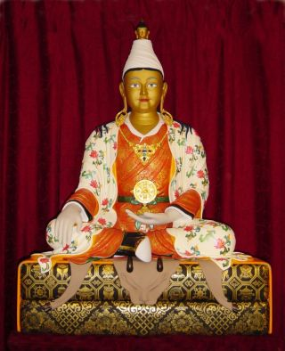 Statue of King Songtsen Gampo, created by Bertrand Cayla, located in the Jokhang which FPMT International Office shares with Maitripa College, Portland, Oregon, USA
