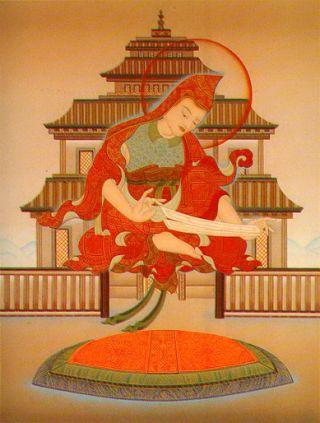 Shantideva teaching Engaging in the Bodhisattva Deeds