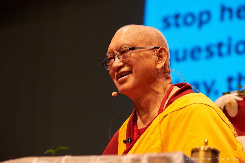 Lama Zopa Rinpoche, Gendun Drupa Centre, Martigny, Switzerland, November 2018. Photo by Olivier Adam.