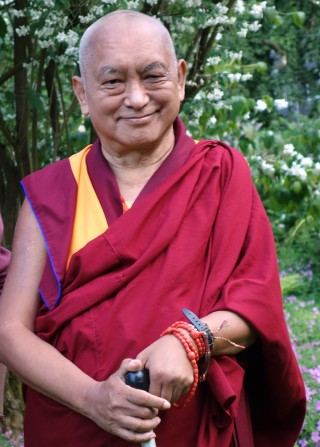 Lama Zopa Rinpoche in England, July 2014. Photo by Ven. Roger Kunsang.