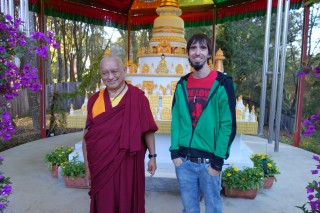 Ösel visiting Lama Zopa Rinpoche at his California house. October, 2013.