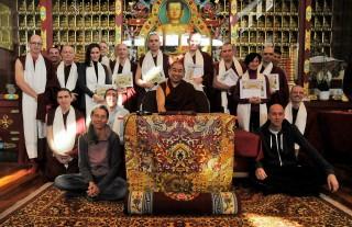 Nalanda Monastery Basic Program graduates with Geshe Jamphel, BP teacher and Nalanda's abbot.