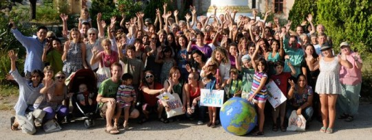 Participants at the Universal Education for Compassion and Wisdom Gathering 2011, August 2011, Institut Vajra Yogini, France