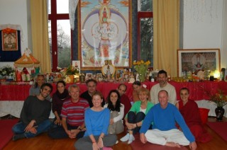 Participants in the 108 nyung näs at Institut Vajra Yogini, 2012.
