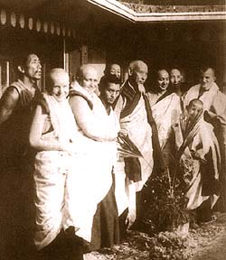 The 1975 Kopan ordination of Ven Sangye Khadro and others, with Lama Zopa Rinpoche, Song Rinpoche and Lama Yeshe.