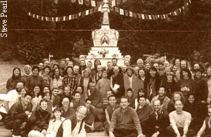 Retreatants with Rinpoche at Vajrapani Institute