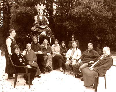 FPMT International Office, 1998. Left to right: Ven. Constance Miller, Sharon Gross, Ven. Robina Courtin, Petra McWilliams, Holly Ansett, Holly Strom, Julia Hengst, Jaffa Elias, Harvey Horrocks, Tubten Pende, Ven. Paul LeMay