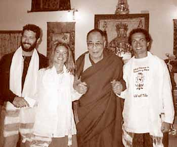 EarthDance organizer Chris Dekker, right, and friends meet with His Holiness the Dalai Lama in India