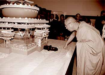 His Holiness visits the Shi-Tro Mandala for Universal Peace at Forest Lawn, Glendale, California