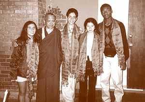 Lama Zopa Rinpoche with the representatives of Nios por la Paz, in Los Angeles this year.