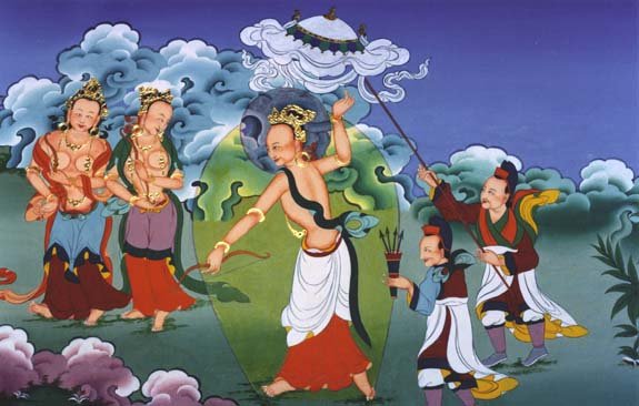 Deed Four: Prince Siddhartha becomes skilled in the arts and playing the sports of youth in the city of Shakya.