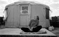 Petra McWilliams outside the yurt that was her home for 3 years