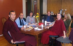 Clockwise form left: Yangsi Rinpoche, Alberto Fournier, Angie Garcia, Kim Hollingshead, Pam Cayton and Ven. Lhundup Damch at a Maitripa Institute board meetings.