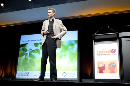 Rasmus Hougaard presenting at the Mind & Its Potential Conference, 2011. Photo by Brendan Read, courtesy of The Potential Project.