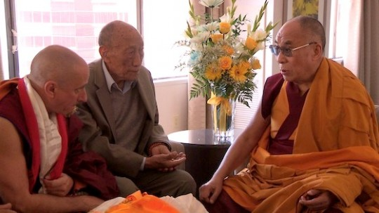 Nicholas Vreeland, Khyongla Rinpoche and His Holiness the Dalai Lama, Long Beach, California, US, April 2012. Photo courtesy of Kino Lorber, Inc.