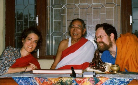 Khetsun Sangpo Rinpoche with Dr. Anne Klein and Dr. Harvey Aronson, Nepal, 1997. Photo courtesy of Anne Klein.
