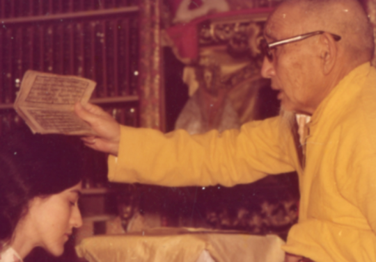 Geshe Wangyal blesses Anne Klein at the wedding of Anne and Harvey Aronson, 1976. Photo courtesy of Anne Klein.