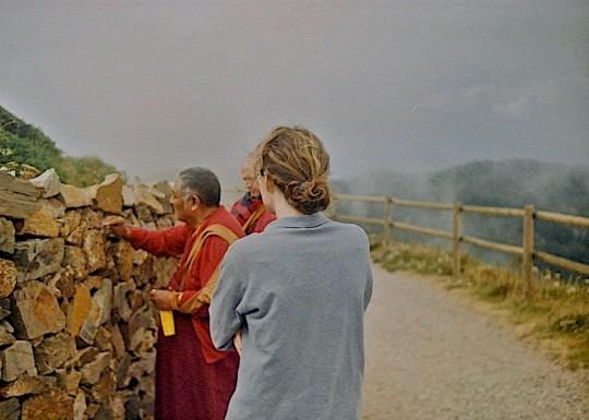 Khensur Jampa Tegchok blessing the mountains nearby Tushita. Photo courtesy of Tushita Retreat Centre.