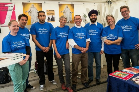 Representatives in the faith tent at the Intercultural Festival in Copenhagen, 2014. Photo courtesy of Tong-nyi Nying-je Ling.