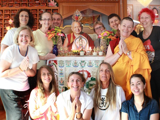 Linda and friends at Langri Tangpa Centre, Brisbane, Australia