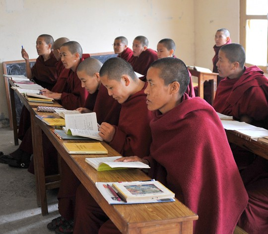 Kopan nuns in the class room, Khachoe Ghakyil Ling, Nepal. Photo by Piero Sirianni.