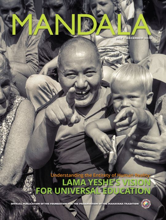 COVER: Lama Thubten Yeshe with child at Maitreya Instituut, the Netherlands, 1981. Photo by Ina van Delden. Digital enhancement by David Zinn. Photo courtesy of Lama Yeshe Wisdom Archive.