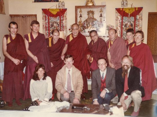 Trisha Donnelly (seated left) with His Holiness the Dalai Lama, Lama Zopa Rinpoche , Pierro Cerri, Heil Huston, Marcel Bertels, Claudio Cipullo, Yeshe Khadro, Robina Courtin, Harvey Horrocks, Massimo Corona and Jeff Nye, at His Holiness' residence India, 1984 or 85. Photo courtesy of Lama Yeshe Wisdom Archive.