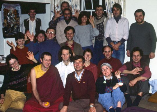 Group photo from the1984 CPMT meeting in England. Trisha, in a grey sweater, is standing in the back row. Photo courtesy of Lama Yeshe Wisdom Archive.