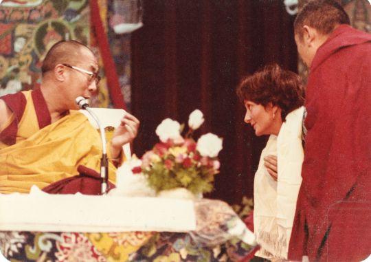 His Holiness the Dalai Lama with Trisha at the Tushita Mahayana Meditation Centres' second Dharma celebration, New Delhi, India, 1982. Photo courtesy Lama Yeshe Wisdom Archive.